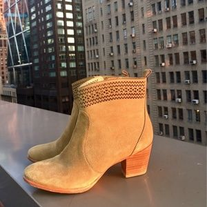 Aerin Tan Suede 'Tilstone' Perforated Ankle Boots
